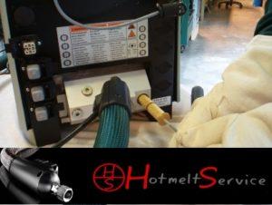 Hot melt apparatuur reinigen - filter vervangen.